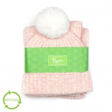POM - Pink ribbed knit recycled hat and scarf
