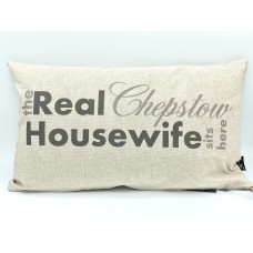 Cushion - the Real Chepstow Housewife sits here