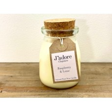 Jadore Milk Bottle Natural Wax Candle -  Raspberry & Lime