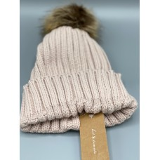 Hot Tomato Cream Wooly hat