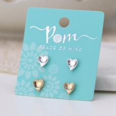 POM - Silver plated and gold plated heart stud earring set