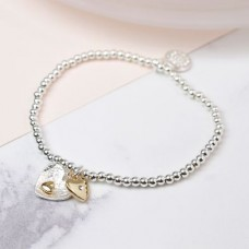 POM - Silver And Gold Plated Double Heart Bracelet