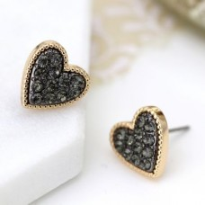 POM - Gold plated heart stud earrings with black crystal