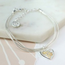POM - Silver plated triple chain bracelet with floral heart charm