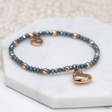 POM - Rose gold and blue bead bracelet with rose gold heart