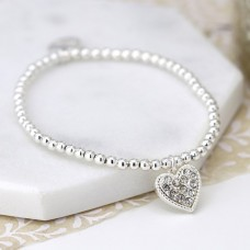 POM - Silver plated bracelet with crystal inset heart