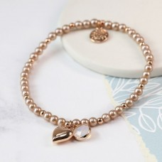 POM - Pink pearl bracelet with rose gold heart and smoky crystal