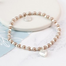 POM - Pink faux pearl and silver plated matt heart bracelet