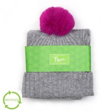 POM - Grey ribbed knit recycled hat and scarf