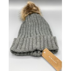 Hot Tomato Grey Wooly hat