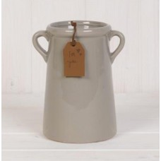 Pot - A tall grey planter with twin handles and a glazed finish.