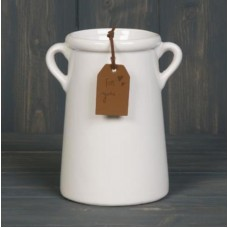 Pot - A tall white planter with twin handles and a glazed finish.